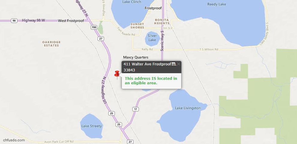 USDA Loan Eligiblity Map - 411 Walter Ave, Frostproof, FL 33843