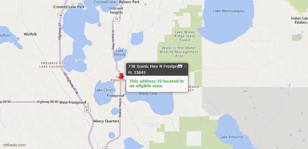 USDA Loan Eligiblity Map - 738 N Scenic Hwy, Frostproof, FL 33843