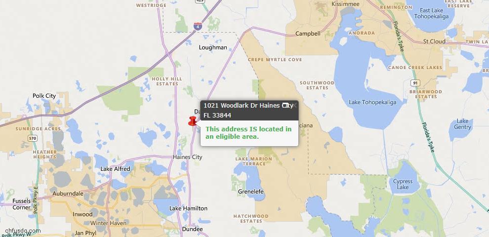 USDA Loan Eligiblity Map - 1021 Woodlark Dr, Haines City, FL 33844
