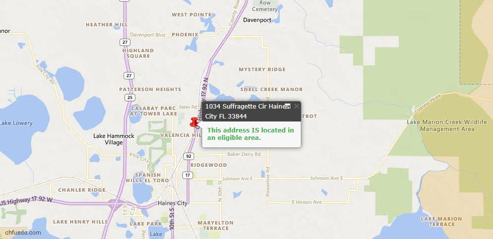 USDA Loan Eligiblity Map - 1034 Suffragette Cir, Haines City, FL 33844
