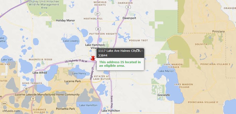 USDA Loan Eligiblity Map - 1117 Lake Ave, Haines City, FL 33844