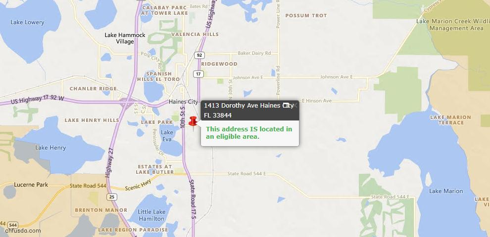 USDA Loan Eligiblity Maps From - Haines City, FL