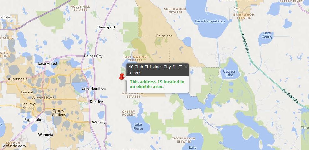 USDA Loan Eligiblity Map - 40 Club Ct, Haines City, FL 33844