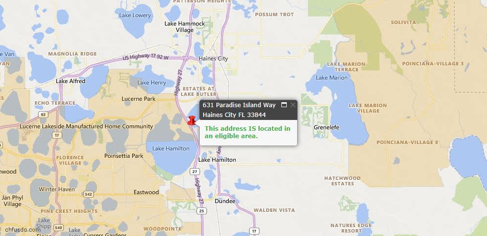 USDA Loan Eligiblity Map - 631 Paradise Island Way, Haines City, FL 33844