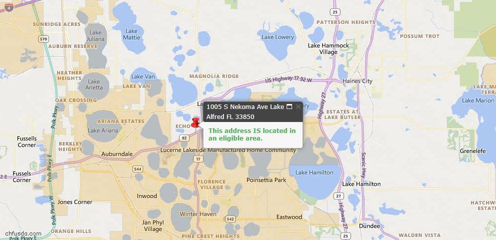 USDA Loan Eligiblity Map - 1005 S Nekoma Ave, Lake Alfred, FL 33850