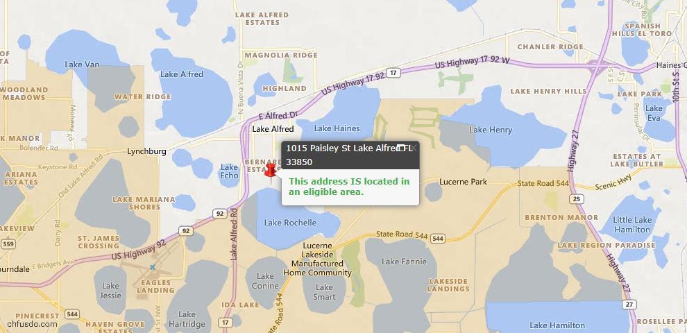 USDA Loan Eligiblity Map - 1015 Paisley St, Lake Alfred, FL 33850