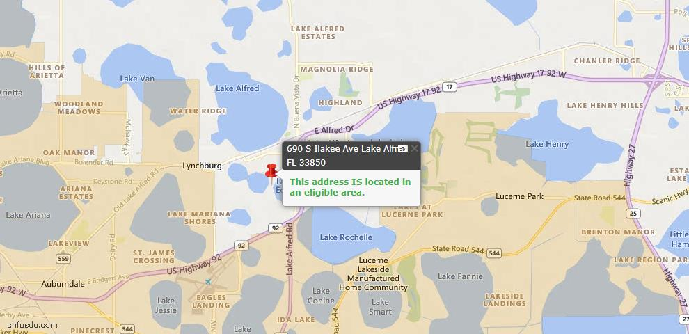 USDA Loan Eligiblity Maps From - Lake Alfred, FL