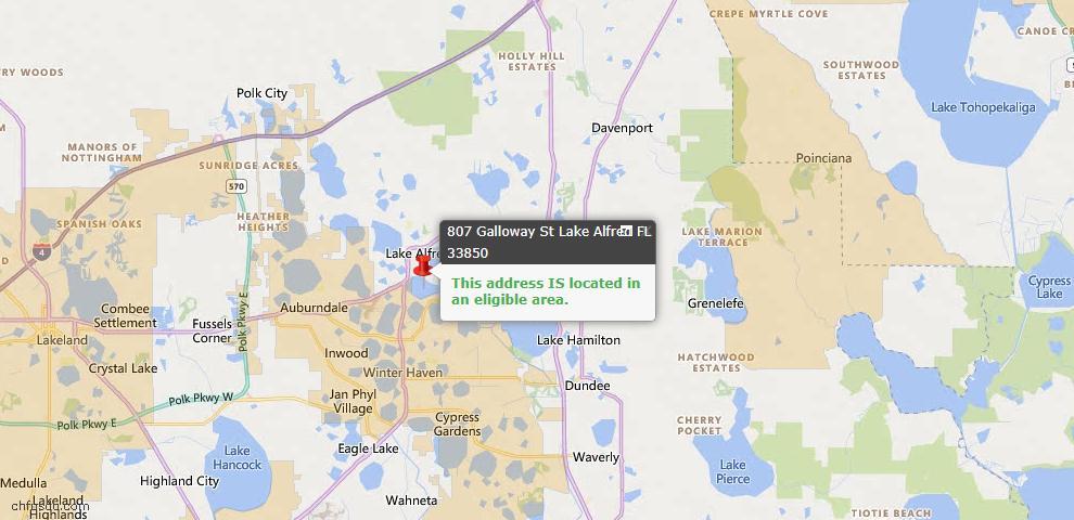 USDA Loan Eligiblity Map - 807 Galloway St, Lake Alfred, FL 33850