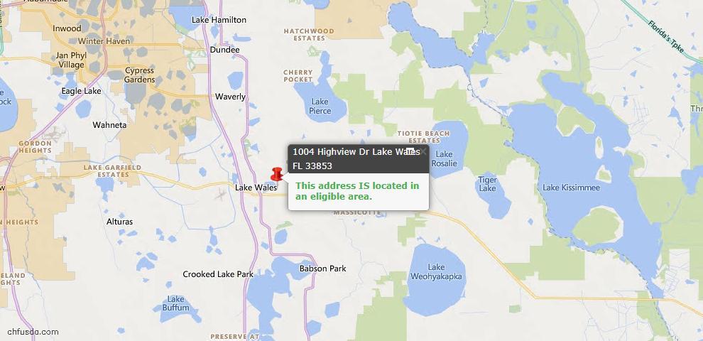 USDA Loan Eligiblity Map - 1004 Highview Dr, Lake Wales, FL 33853