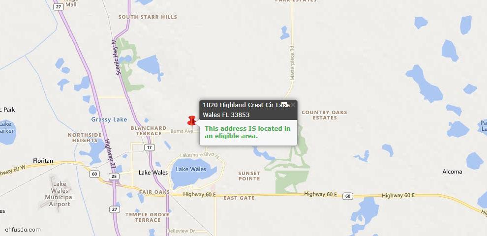 USDA Loan Eligiblity Map - 1020 Highland Crest Cir, Lake Wales, FL 33853
