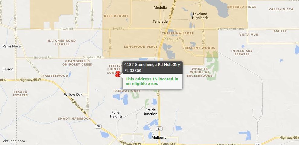 USDA Loan Eligiblity Map - 4187 Stonehenge Rd, Mulberry, FL 33860