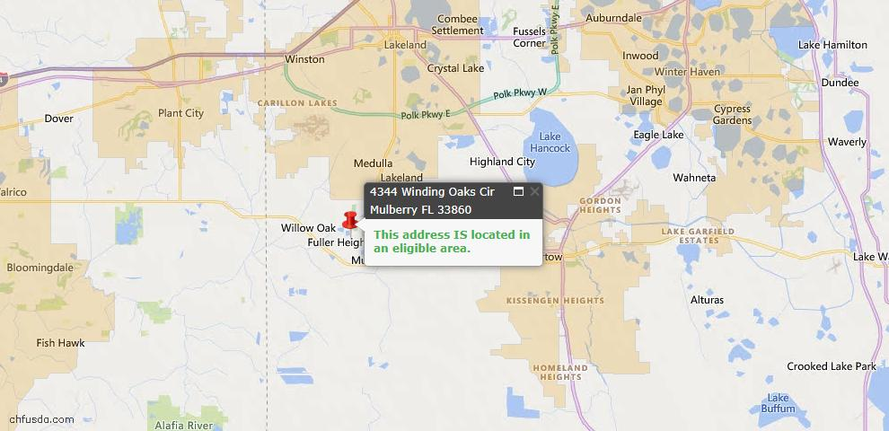 USDA Loan Eligiblity Map - 4344 Winding Oaks Cir, Mulberry, FL 33860