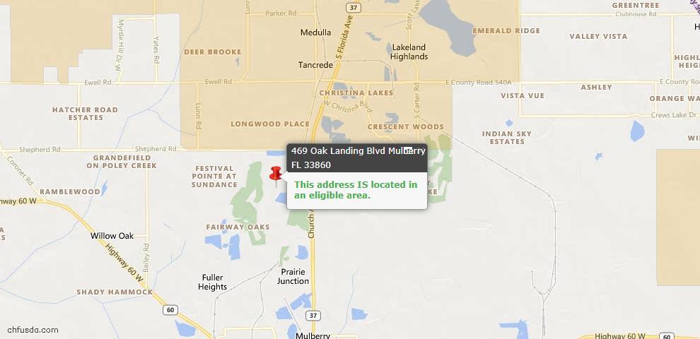 USDA Loan Eligiblity Map - 469 Oak Landing Blvd, Mulberry, FL 33860