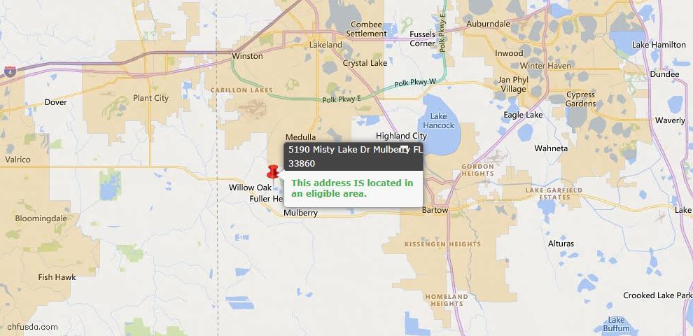 USDA Loan Eligiblity Map - 5190 Misty Lake Dr, Mulberry, FL 33860