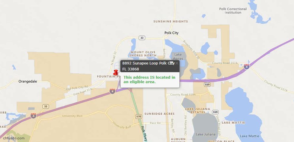 USDA Loan Eligiblity Maps From - Polk City, FL