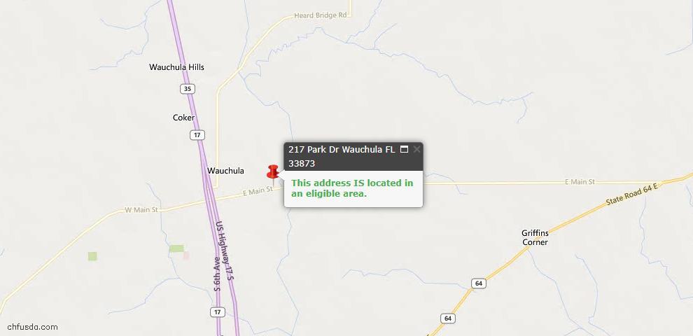 USDA Loan Eligiblity Maps From - Wauchula, FL