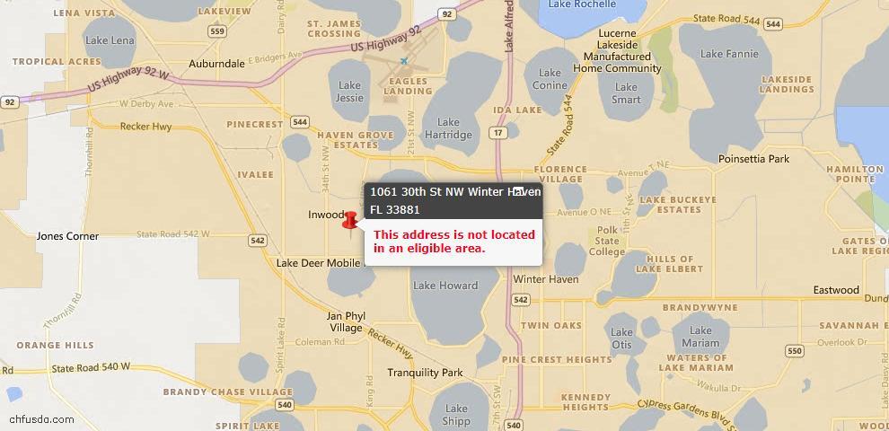 USDA Loan Eligiblity Maps From - Winter Haven, FL
