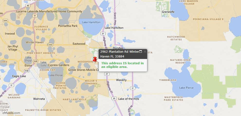 USDA Loan Eligiblity Map - 2962 Plantation Rd, Winter Haven, FL 33884