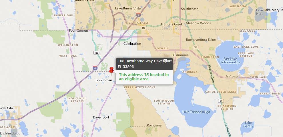 USDA Loan Eligiblity Map - 108 Hawthorne Way, Davenport, FL 33896