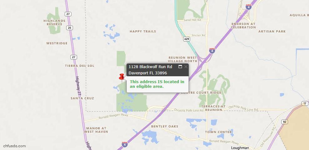 USDA Loan Eligiblity Map - 1128 Blackwolf Run Rd, Davenport, FL 33896