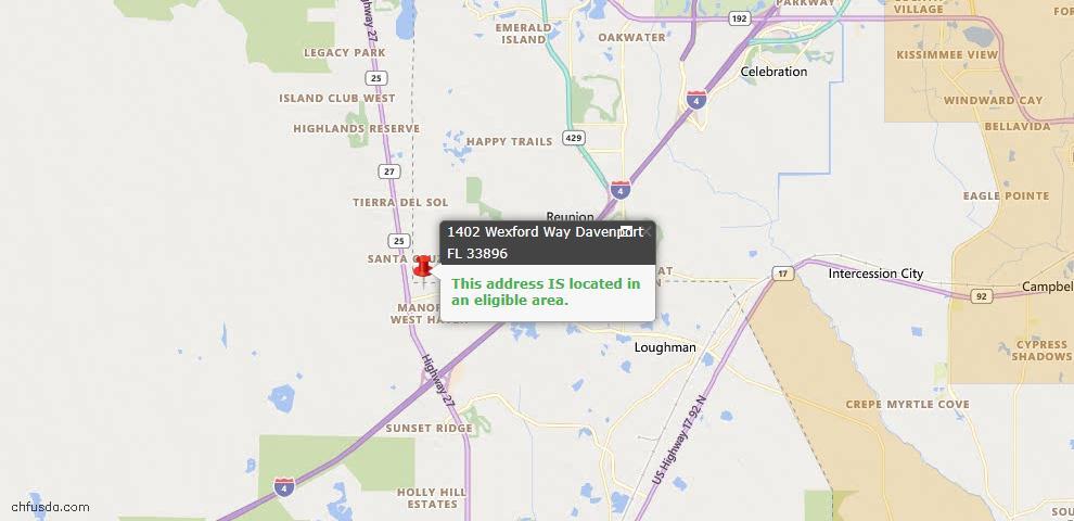 USDA Loan Eligiblity Map - 1402 Wexford Way, Davenport, FL 33896