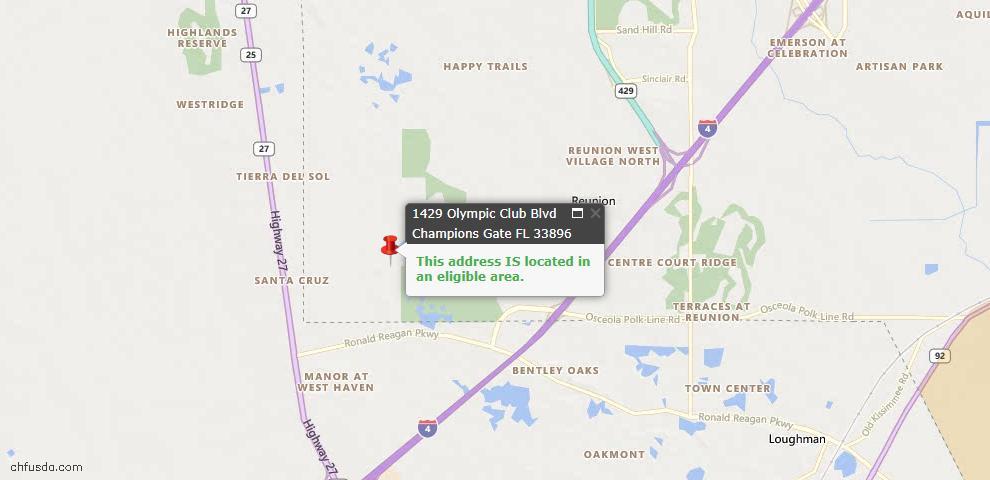 USDA Loan Eligiblity Maps From - Champions Gate, FL