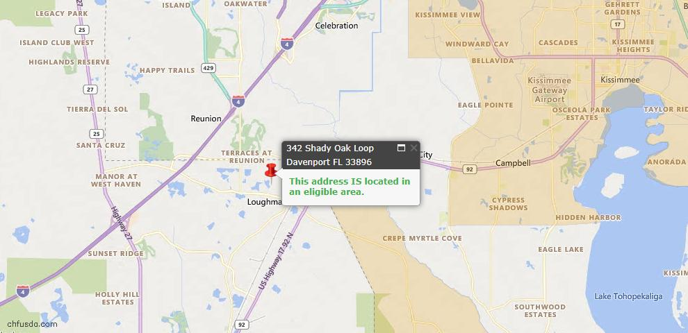 USDA Loan Eligiblity Map - 342 Shady Oak Loop, Davenport, FL 33896