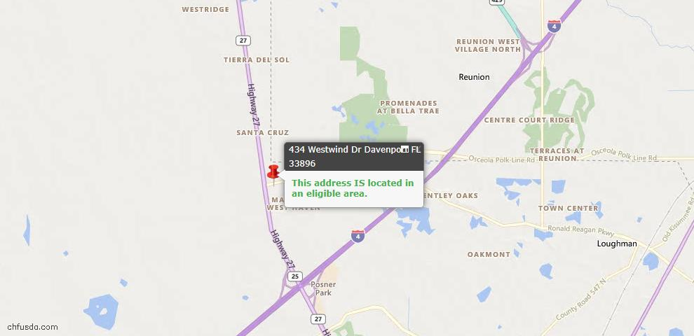 USDA Loan Eligiblity Map - 434 Westwind Dr, Davenport, FL 33896