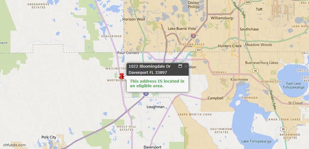 USDA Loan Eligiblity Map - 1022 Bloomingdale Dr, Davenport, FL 33897