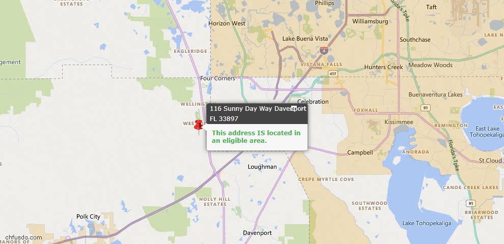 USDA Loan Eligiblity Map - 116 Sunny Day Way, Davenport, FL 33897
