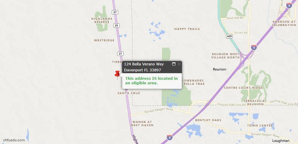 USDA Loan Eligiblity Map - 124 Bella Verano Way, Davenport, FL 33897