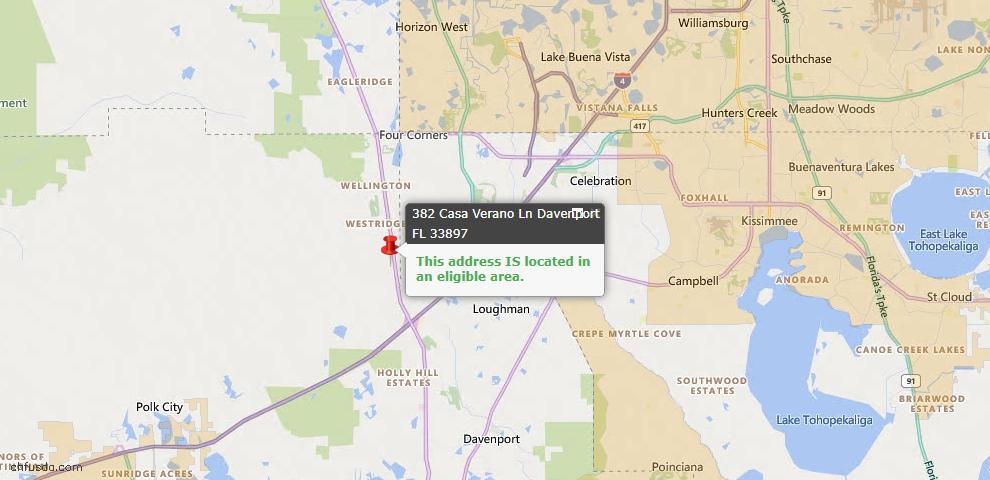 USDA Loan Eligiblity Map - 382 Casa Verano Ln, Davenport, FL 33897