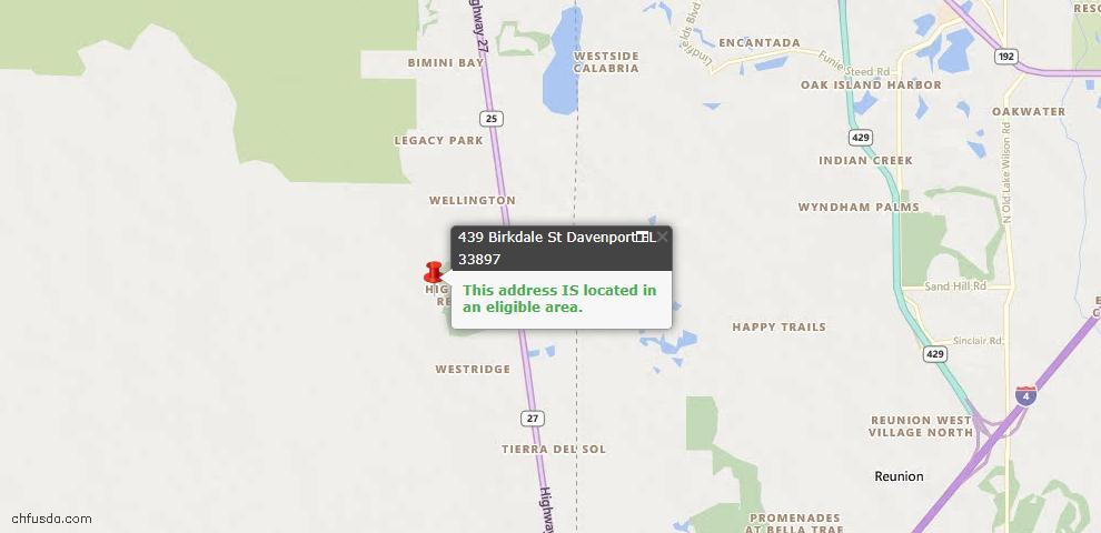 USDA Loan Eligiblity Map - 439 Birkdale St, Davenport, FL 33897