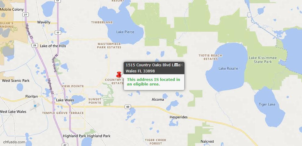 USDA Loan Eligiblity Map - 1515 Country Oaks Blvd, Lake Wales, FL 33898