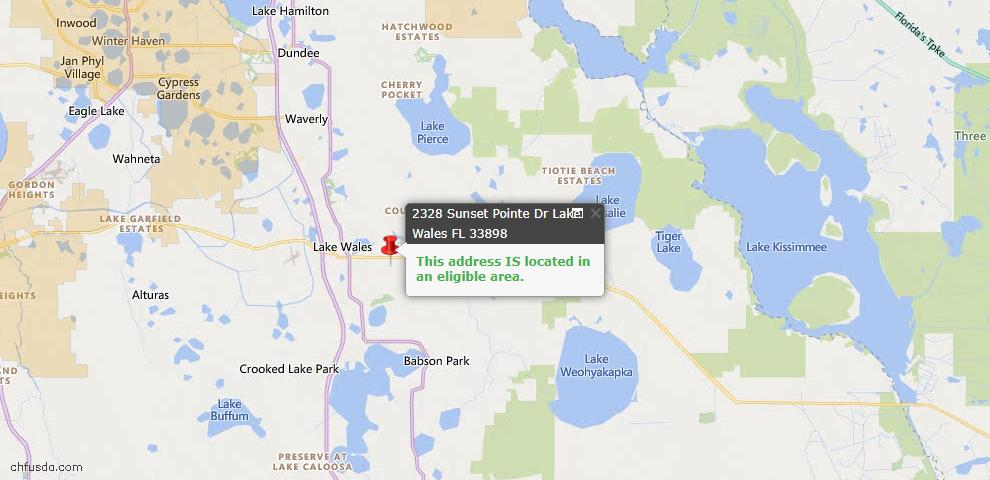 USDA Loan Eligiblity Map - 2328 Sunset Pointe Dr, Lake Wales, FL 33898