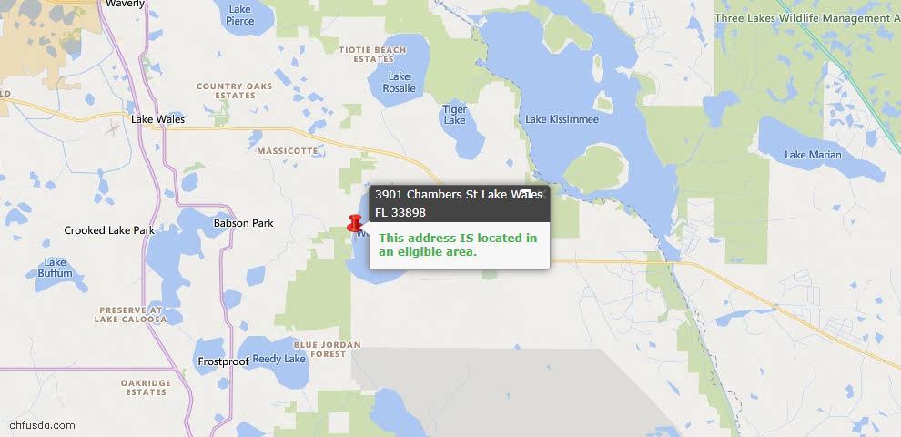 USDA Loan Eligiblity Map - 3901 Chambers St, Lake Wales, FL 33898