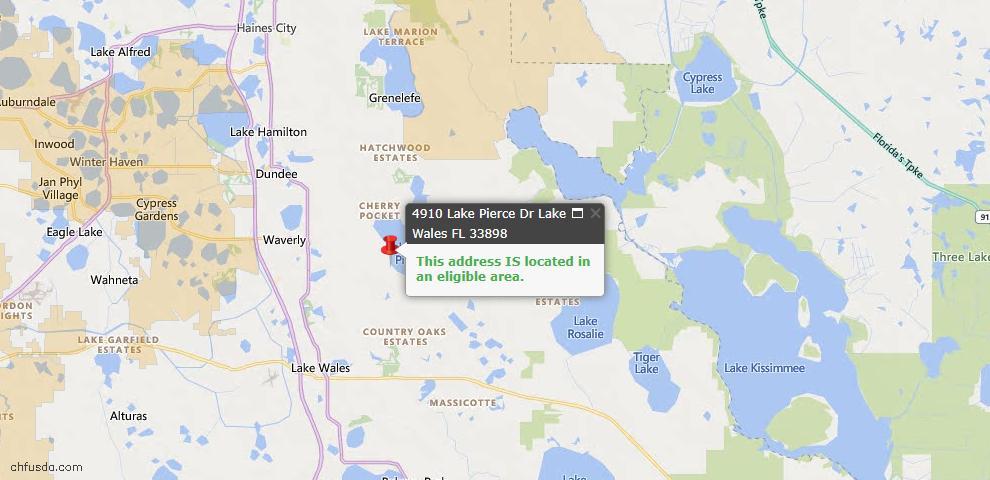 USDA Loan Eligiblity Map - 4910 Lake Pierce Dr, Lake Wales, FL 33898
