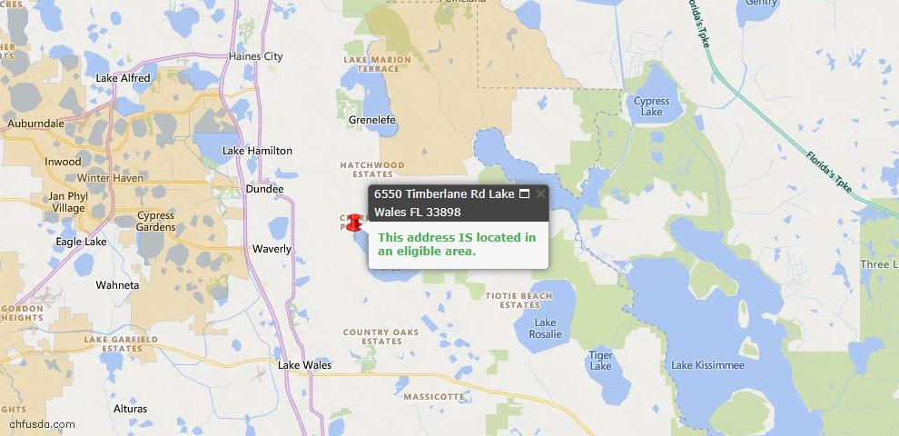 USDA Loan Eligiblity Map - 6550 Timberlane Rd, Lake Wales, FL 33898