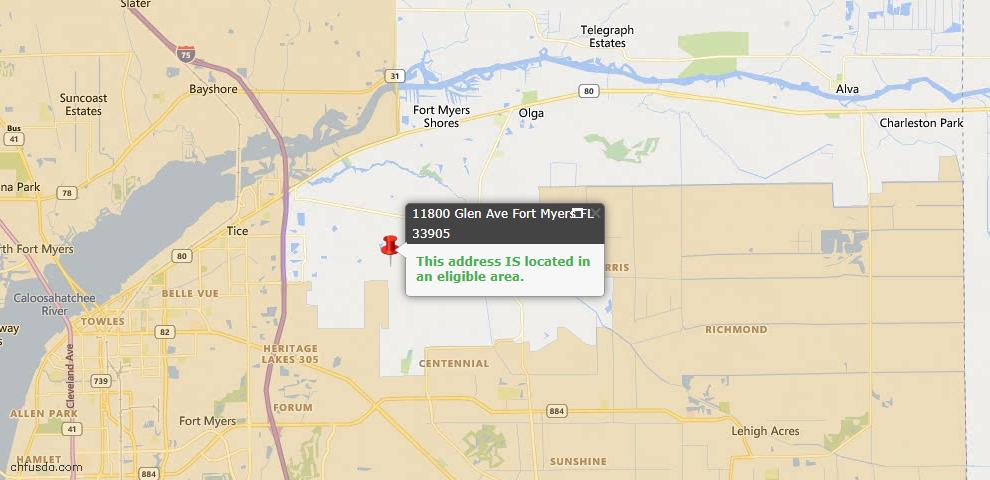 USDA Loan Eligiblity Map - 11800 Glen Ave, Fort Myers, FL 33905