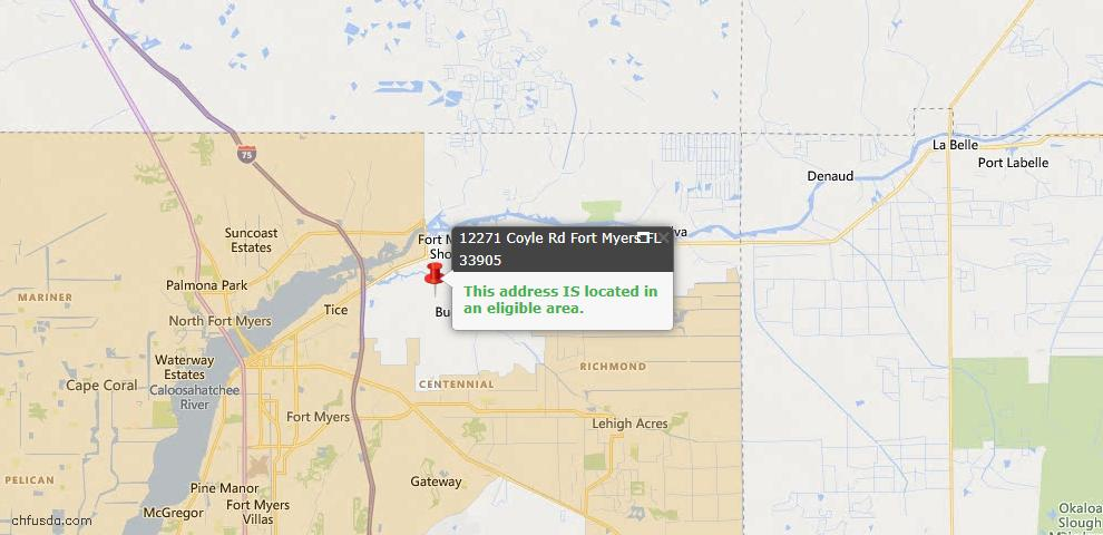 USDA Loan Eligiblity Map - 12271 Coyle Rd, Fort Myers, FL 33905