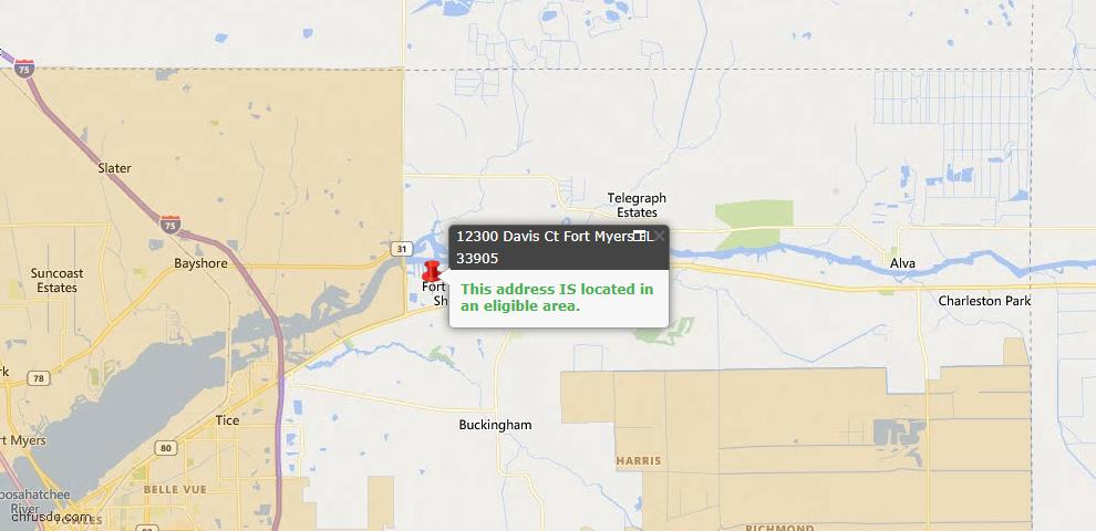 USDA Loan Eligiblity Map - 12300 Davis Ct, Fort Myers, FL 33905