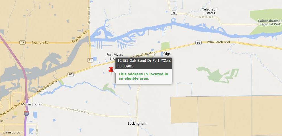 USDA Loan Eligiblity Map - 12461 Oak Bend Dr, Fort Myers, FL 33905