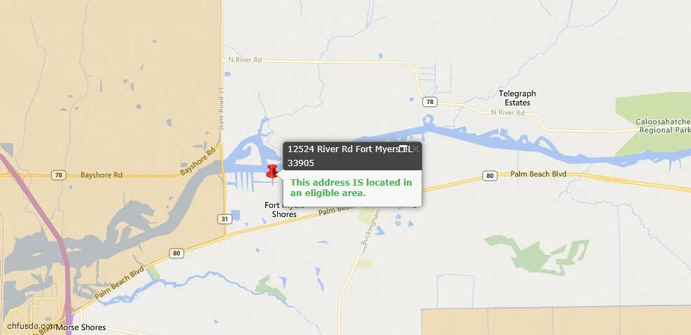 USDA Loan Eligiblity Map - 12524 River Rd, Fort Myers, FL 33905