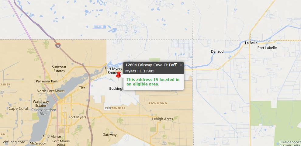 USDA Loan Eligiblity Map - 12604 Fairway Cove Ct, Fort Myers, FL 33905