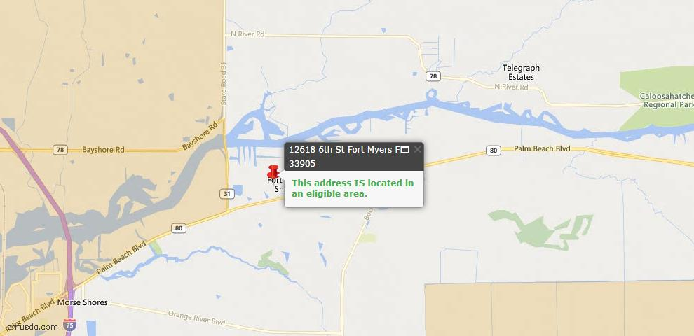 USDA Loan Eligiblity Map - 12618 6th St, Fort Myers, FL 33905