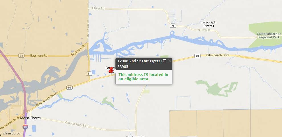 USDA Loan Eligiblity Map - 12908 2nd St, Fort Myers, FL 33905