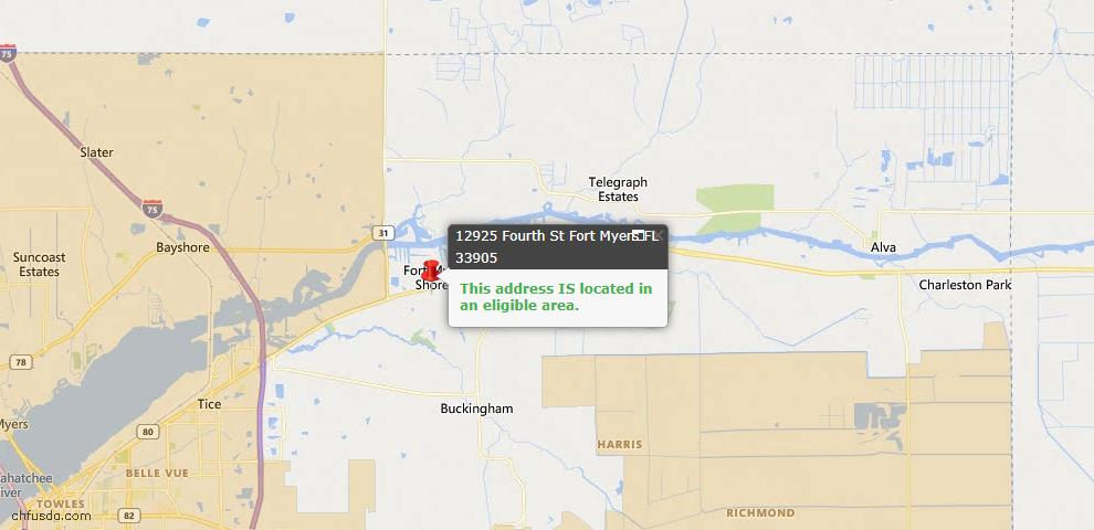 USDA Loan Eligiblity Map - 12925 Fourth St, Fort Myers, FL 33905