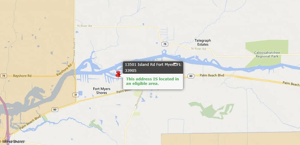 USDA Loan Eligiblity Map - 13501 Island Rd, Fort Myers, FL 33905