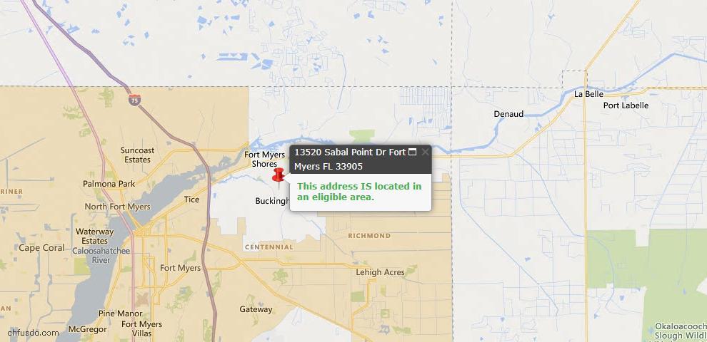 USDA Loan Eligiblity Map - 13520 Sabal Pointe Dr, Fort Myers, FL 33905