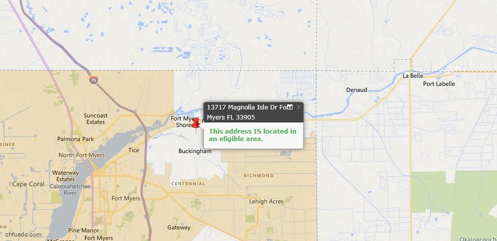 USDA Loan Eligiblity Map - 13717 Magnolia Isles Dr, Fort Myers, FL 33905